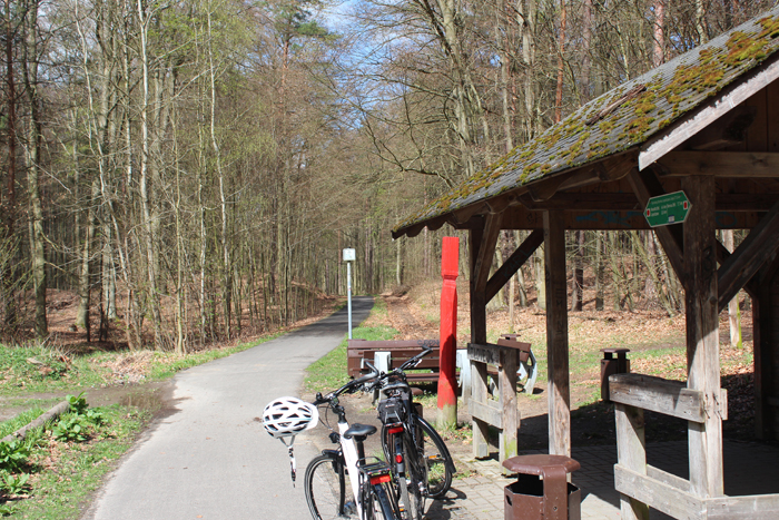Erste Pause auf dem Weg zum Liepnitzsee: Der Parkplatz kurz vor Wandlitz