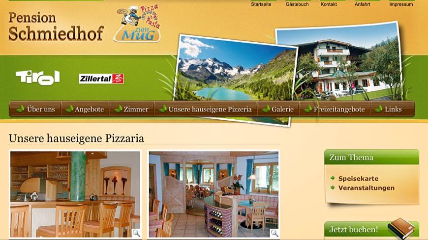 Website Pension Schmiedhof mit Pizzeria zum MUG