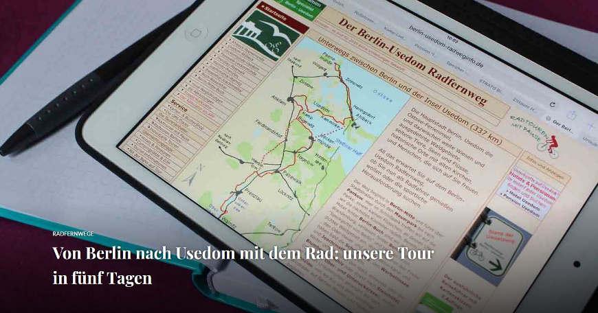 Bild Blogbeitrag Berlin-Usedom Radfernweg Tour im Überblick