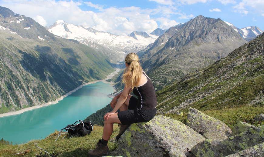 Ausblick Schlegeisspeicher von Olpererhütte