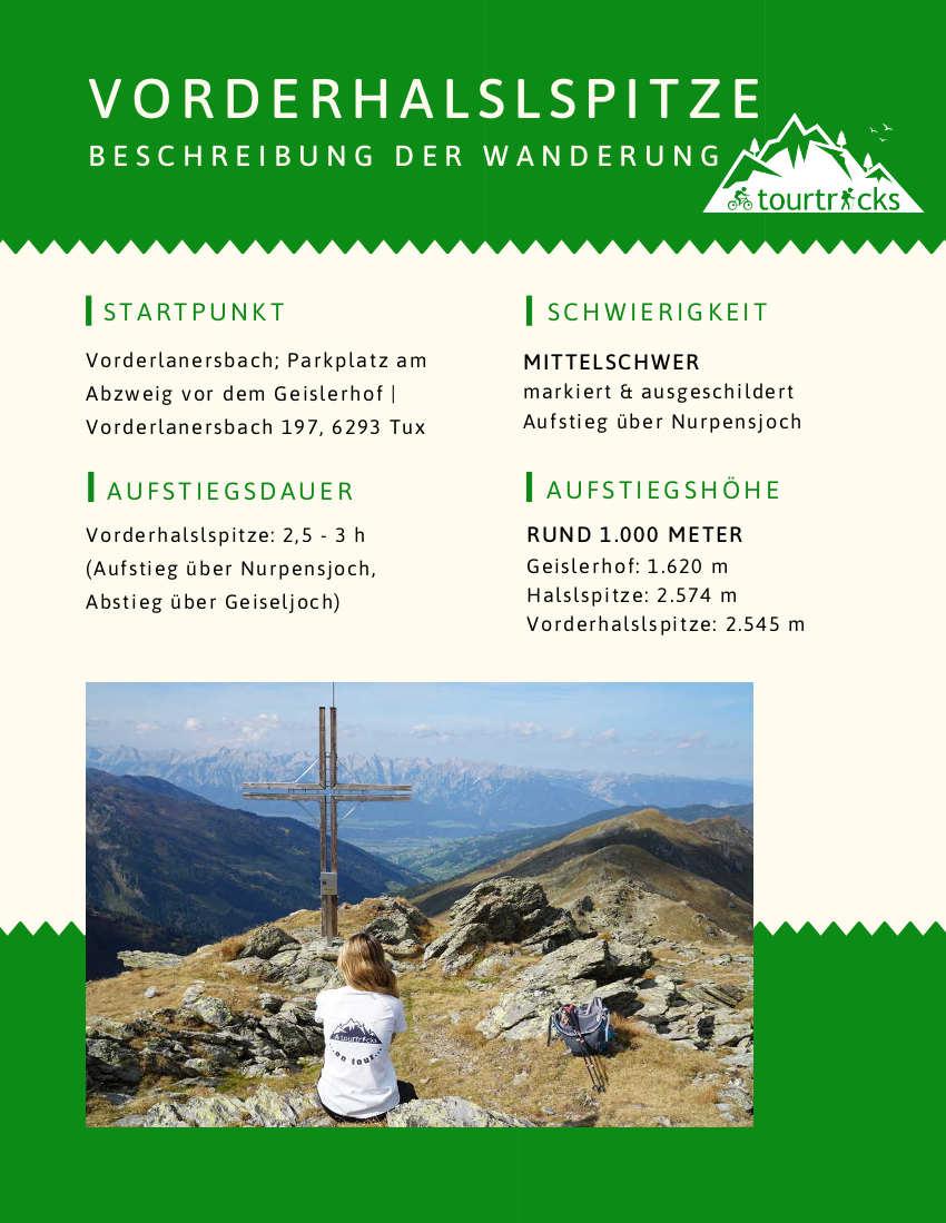 Wanderbeschreibung Vorderhalslspitze Zillertal Tux