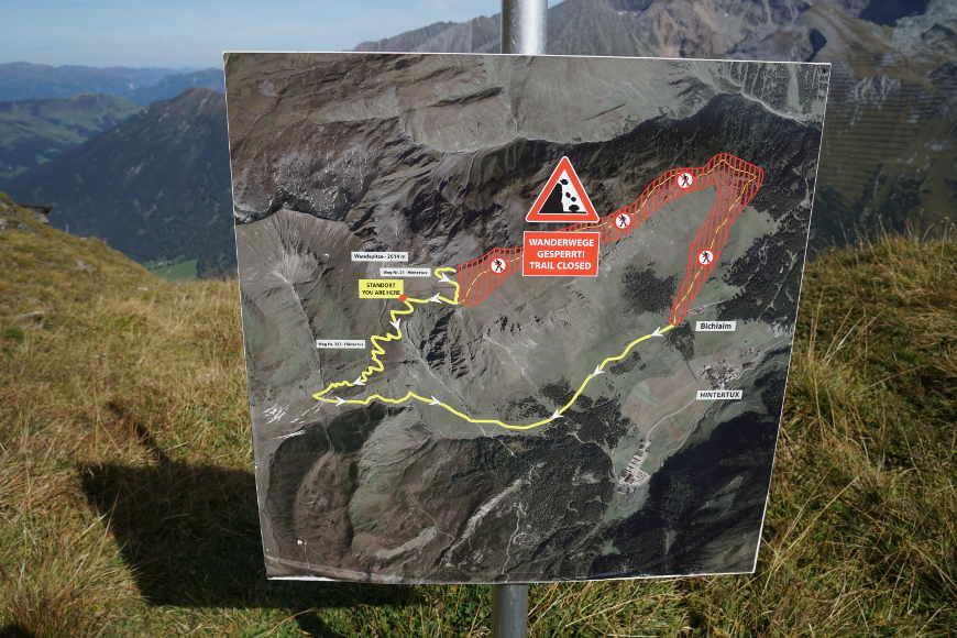 Sperrung Wanderweg Kellenspitze