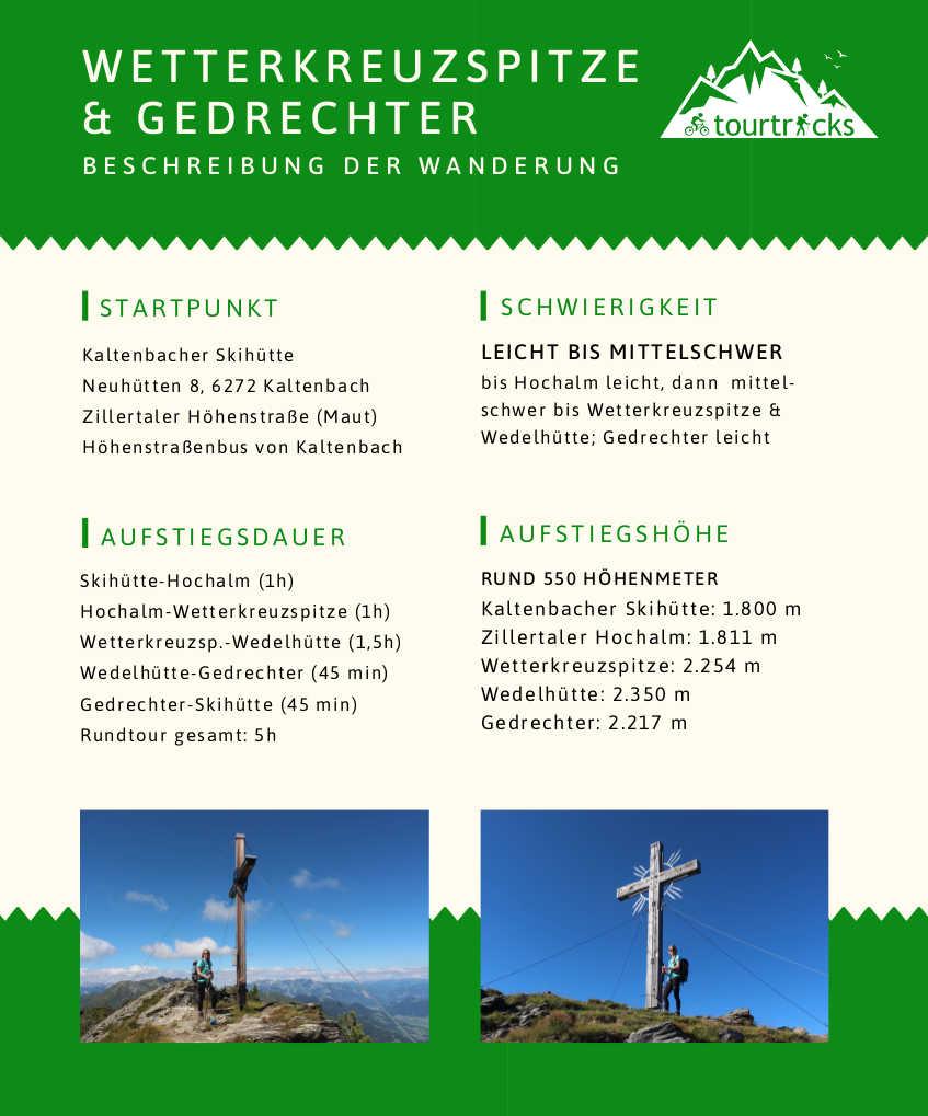 Wanderbeschreibung Wetterkreuzspitze im Zillertal und Gedrechter