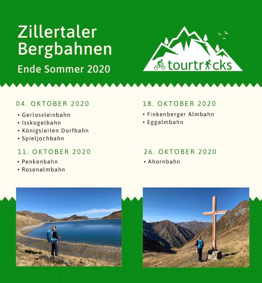 Überblick Termine Herbst 2020 Bergbahnen Zillertal